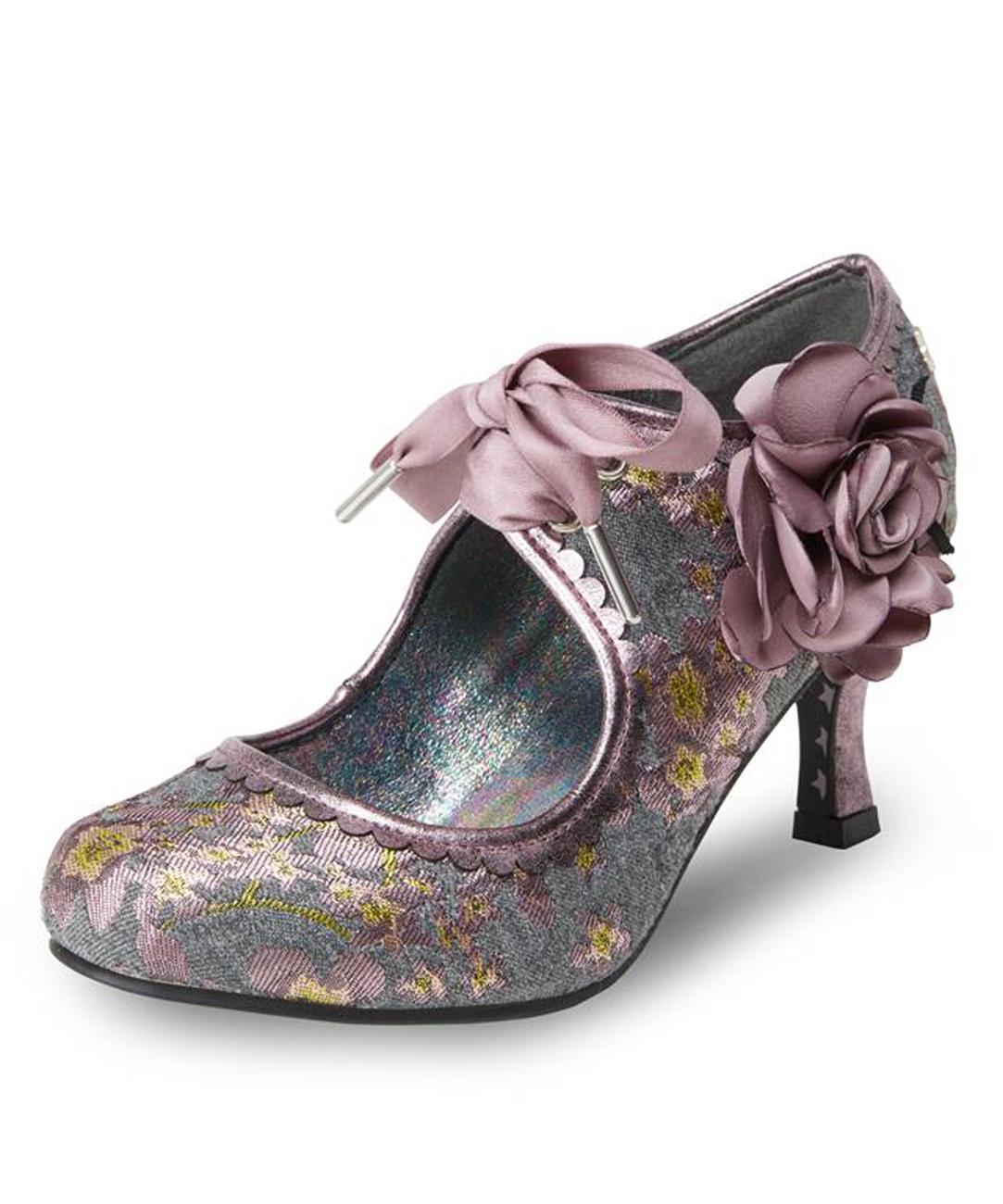 Joe Browns Rosalind Couture Court Shoe UK3-9 EU36-42 Grey Turquoise Tweed