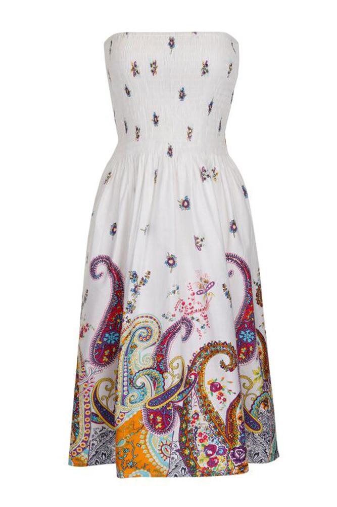 Pistachio White Pink Green Pretty Floral Strapless Sundress Skirt Cotton UK 8-22