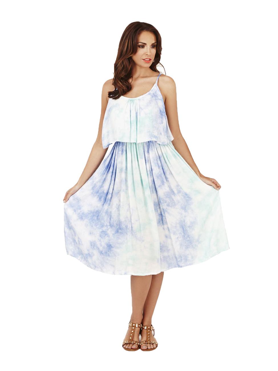 62b75e72c03 Pistachio Tie Dye Knee Length Dress Summer Holiday UK 8-22 Aqua White