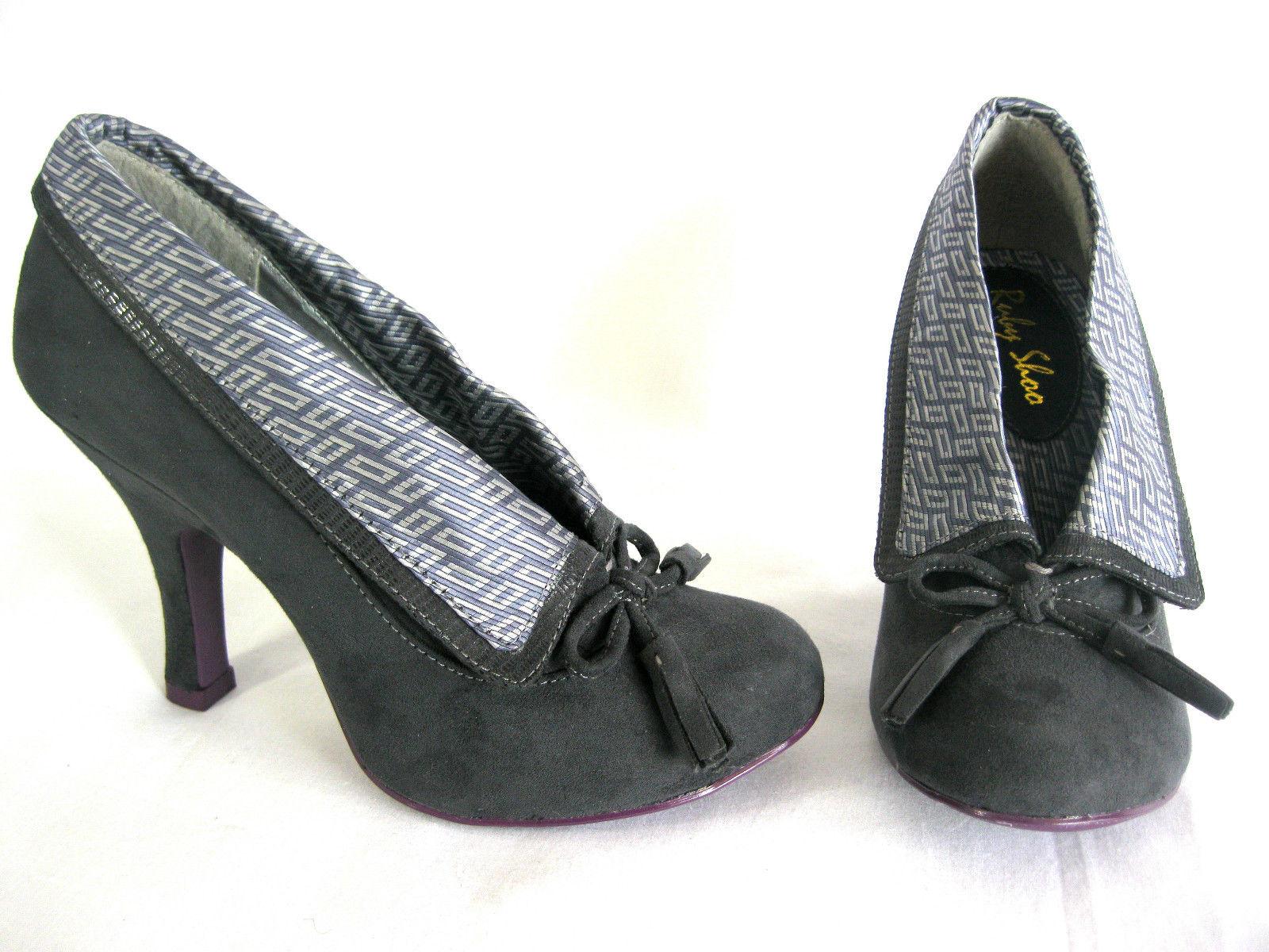 Ruby Shoo Sz 3-8 grau Demi schuhe schuhe schuhe schuhe Stiefel grau Faux Suede Foldover Tops & Bows bd3c14