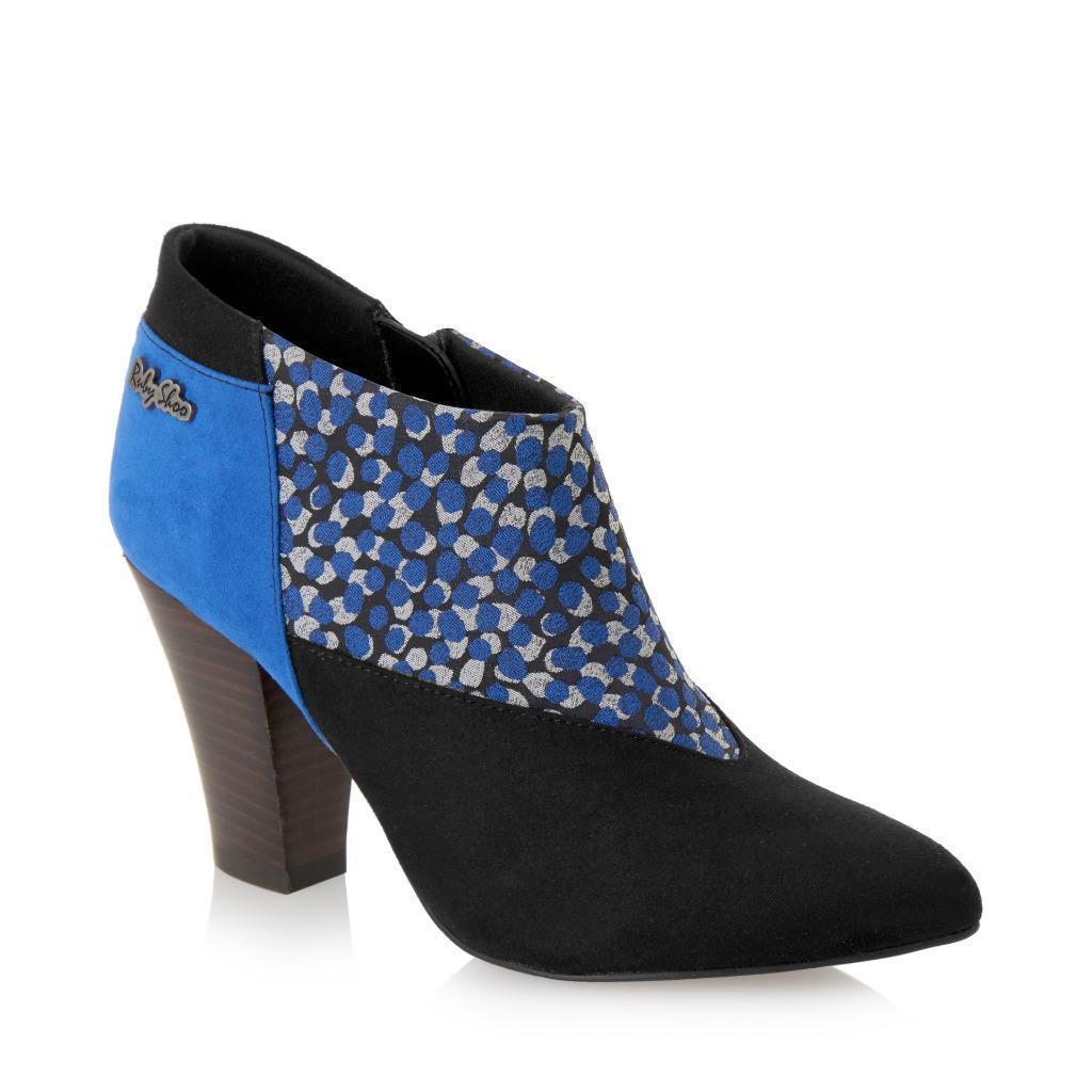 Ruby Bottes Shoo Erika Cheville Bottes Ruby UK3-8 Bleu Violet Noir Faux Daim & Motif panneau c21d7c