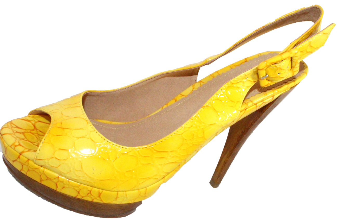 3b795e0f746 Details about Rascal Bright Patent Croc Slingback Peeptoes 3-8 Yellow Lime  Pink Blue