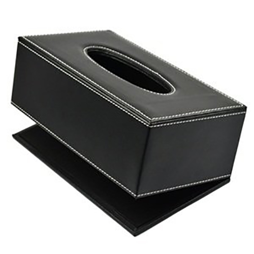 UK Silver Square Leather Tissue Box Cover Paper Case Home Office Toilet Holder