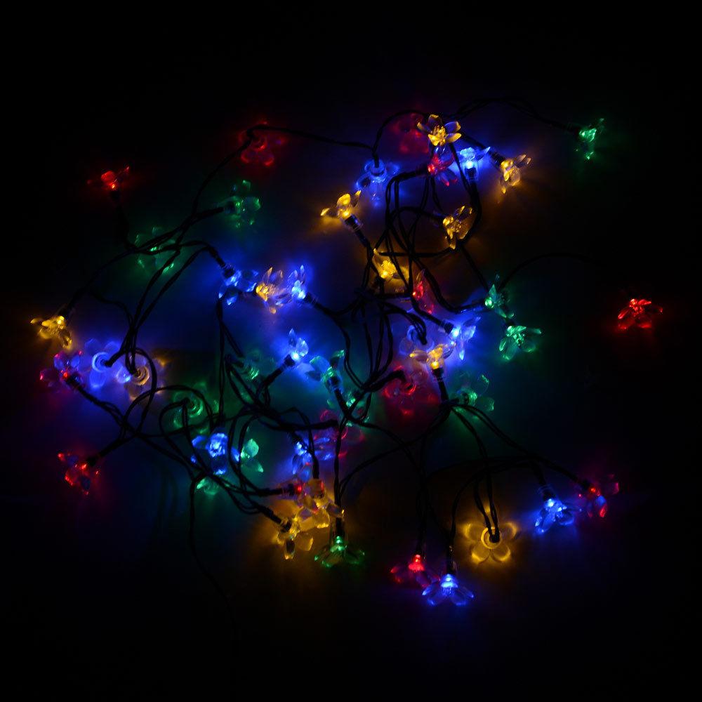 solar flower shape string lights outdoor for christmas party waterproof 50 led ebay. Black Bedroom Furniture Sets. Home Design Ideas