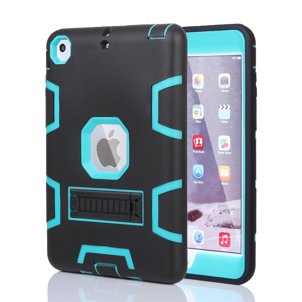 for ipad air 2 ipad mini shockproof heavy duty rubber with hard stand case cover ebay. Black Bedroom Furniture Sets. Home Design Ideas