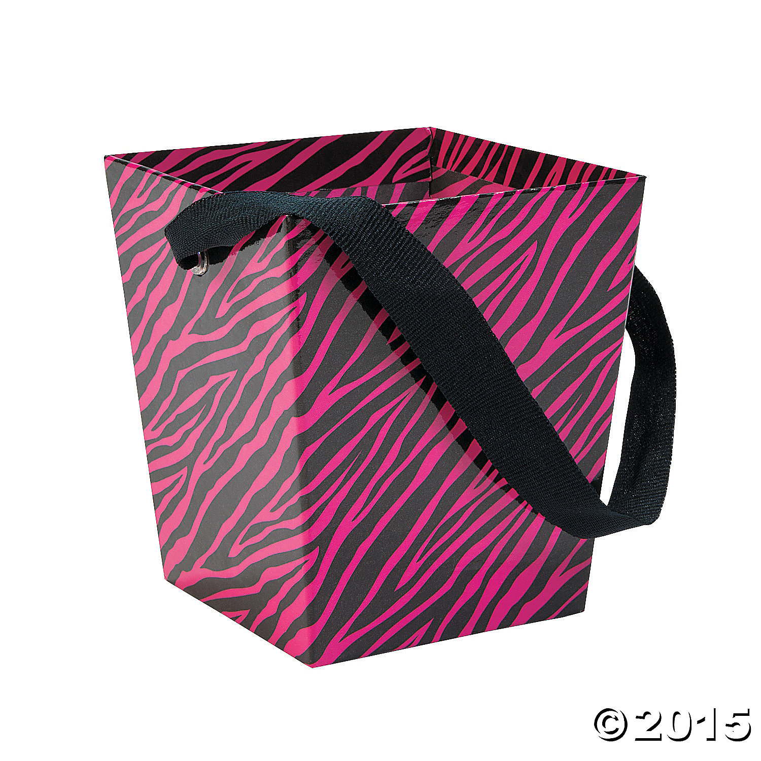 6 Pieces Cardboard Hot Pink Zebra Buckets with Ribbon Handle
