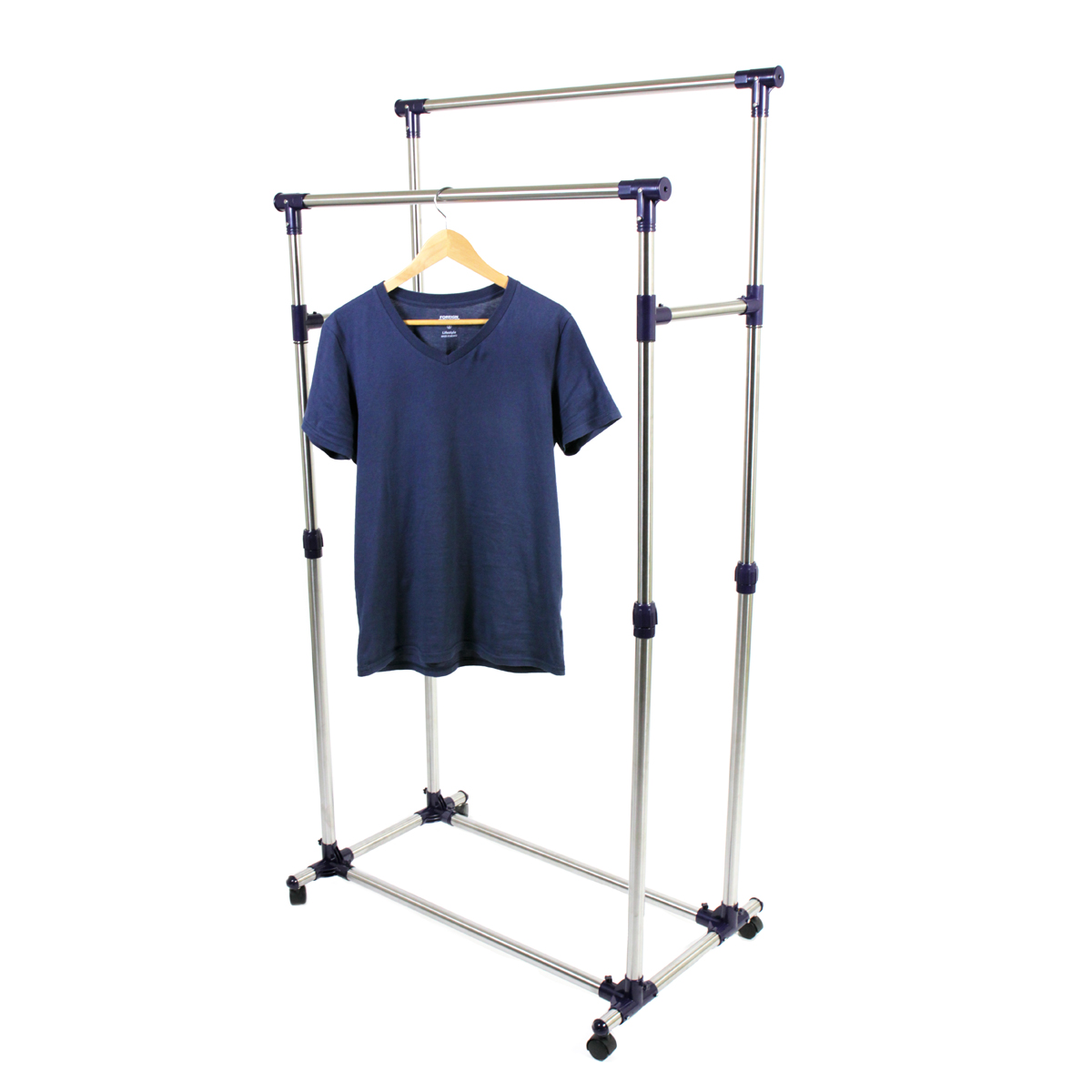 new heavy duty double rail adjustable telescopic rolling clothing garment rack ebay. Black Bedroom Furniture Sets. Home Design Ideas