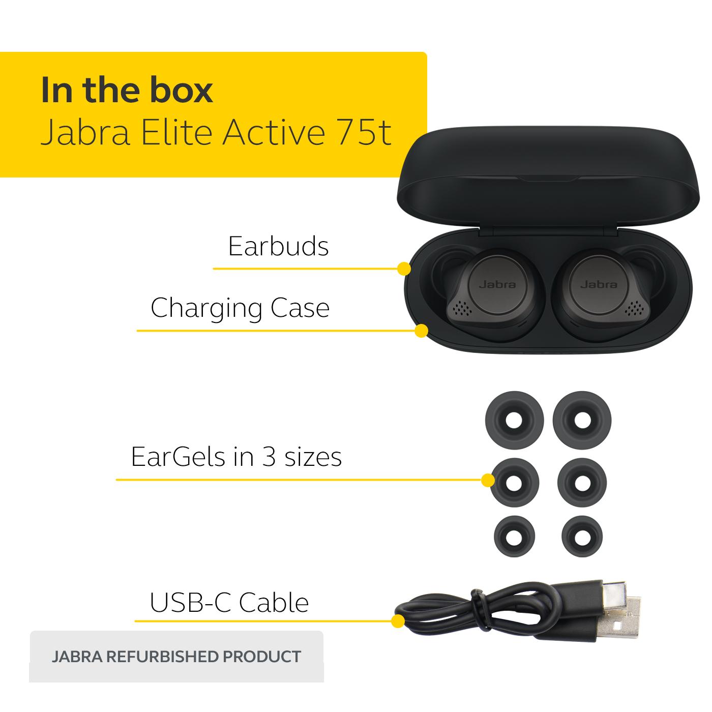 thumbnail 18 - Jabra Elite Active 75t True Wireless Earbuds Certified Refurbished