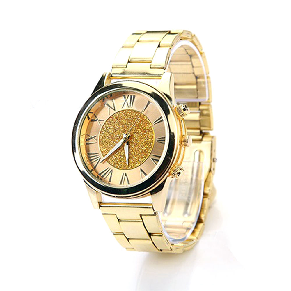 Womens Unisex Analog Powder Dial Golden Stainless Band ...