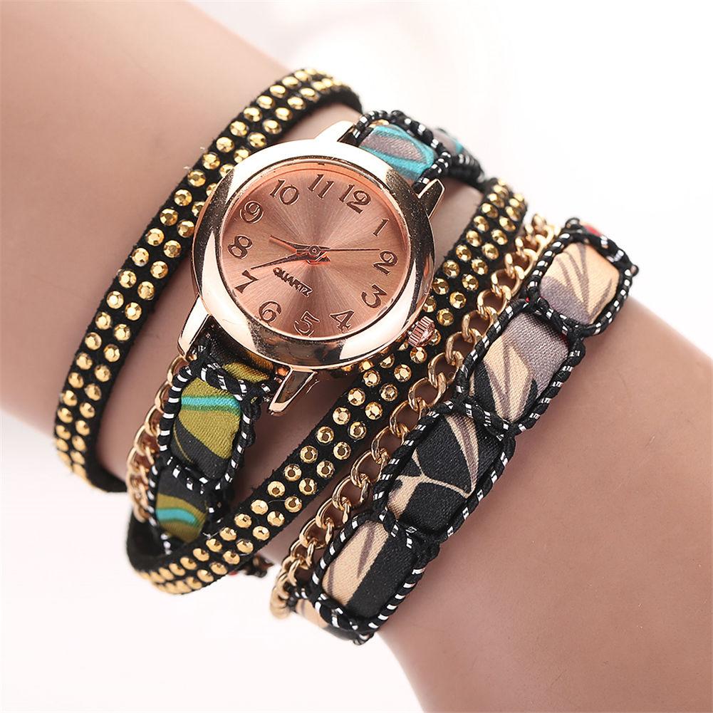 Gold Wrist Bracelet: Women Unique Multilayer Leather Bracelet Rivet Rose Gold
