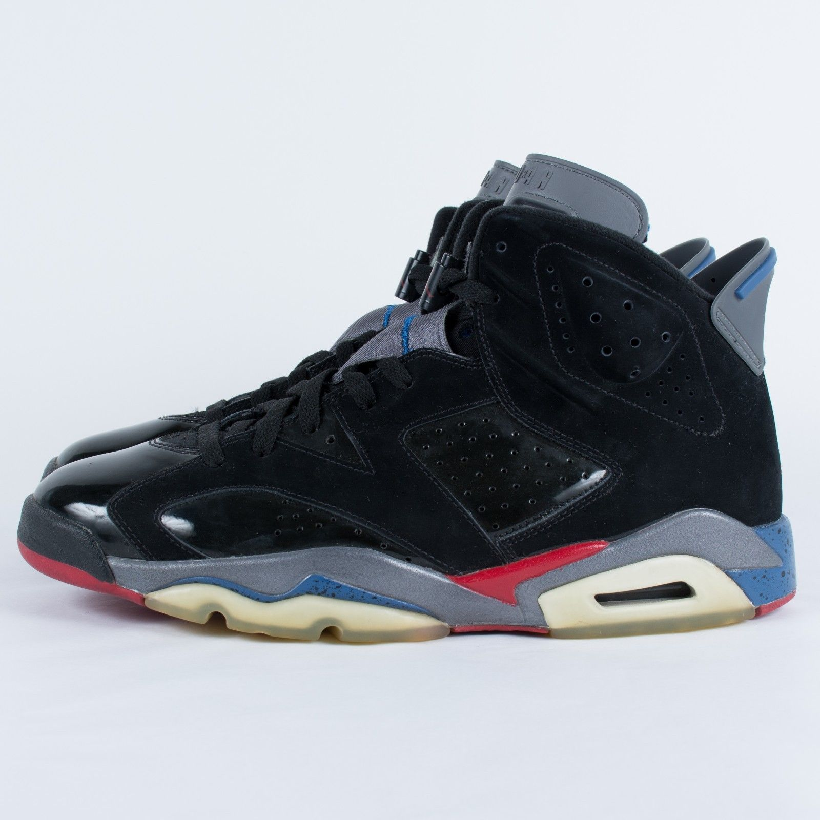 detailing a37ac b8c66 ... NIKE AIR JORDAN 6 RETRO PISTONS BLACK VARSITY RED BLUE 384664 001 WORN  SIZE 10.5 ...
