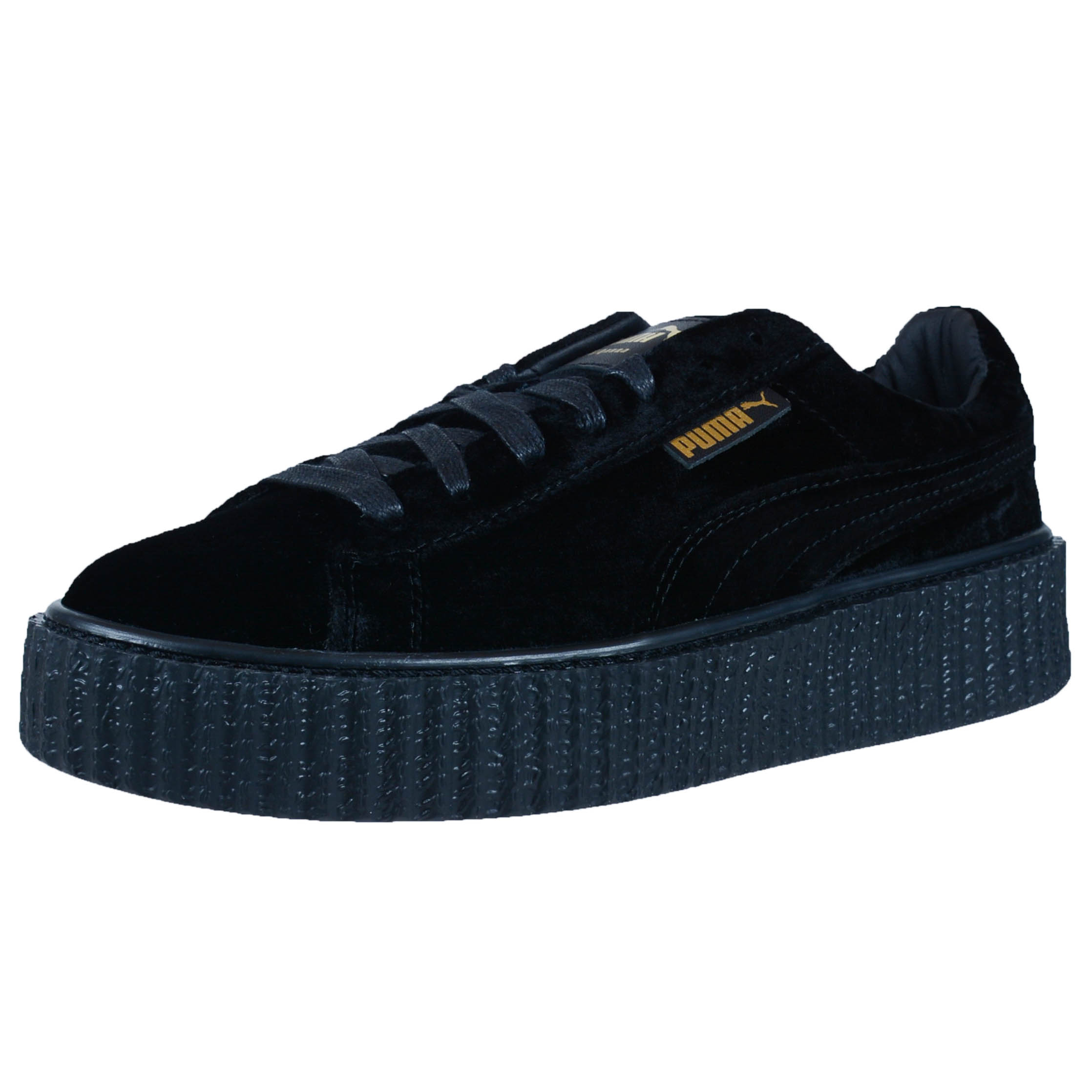 puma by rihanna womens creeper velvet black purple gray fashion sneakers 364466. Black Bedroom Furniture Sets. Home Design Ideas