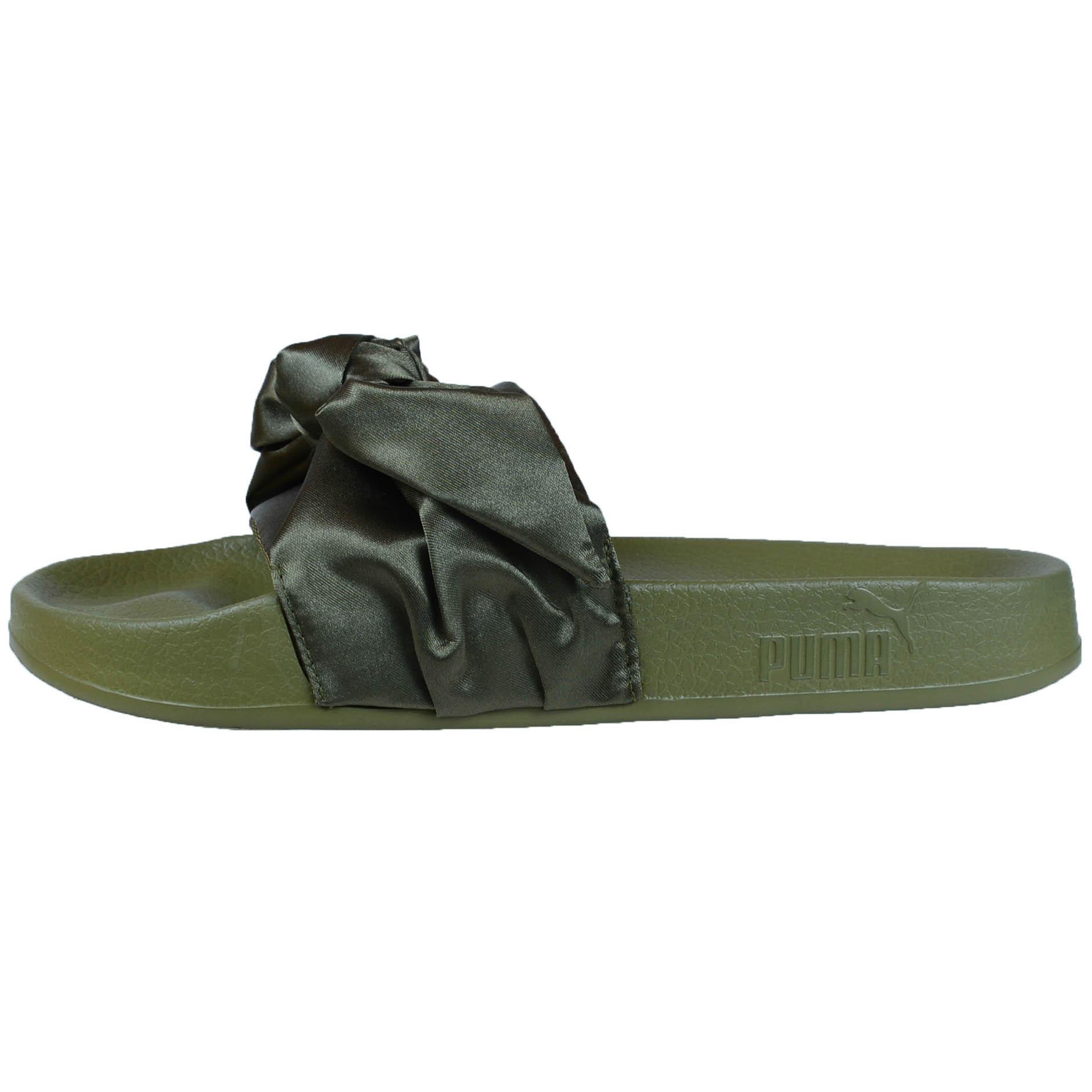 puma by rihanna fenty women 39 s bow slide sandals pink olive green 365774 03 01 ebay. Black Bedroom Furniture Sets. Home Design Ideas