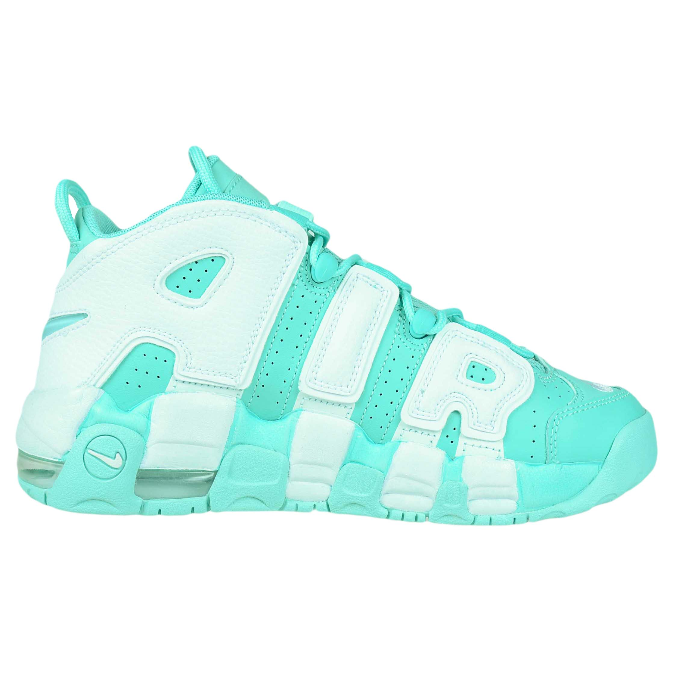 NIKE GIRLS AIR MORE UPTEMPO GS ISLAND GREEN WHITE SCOTTIE ...