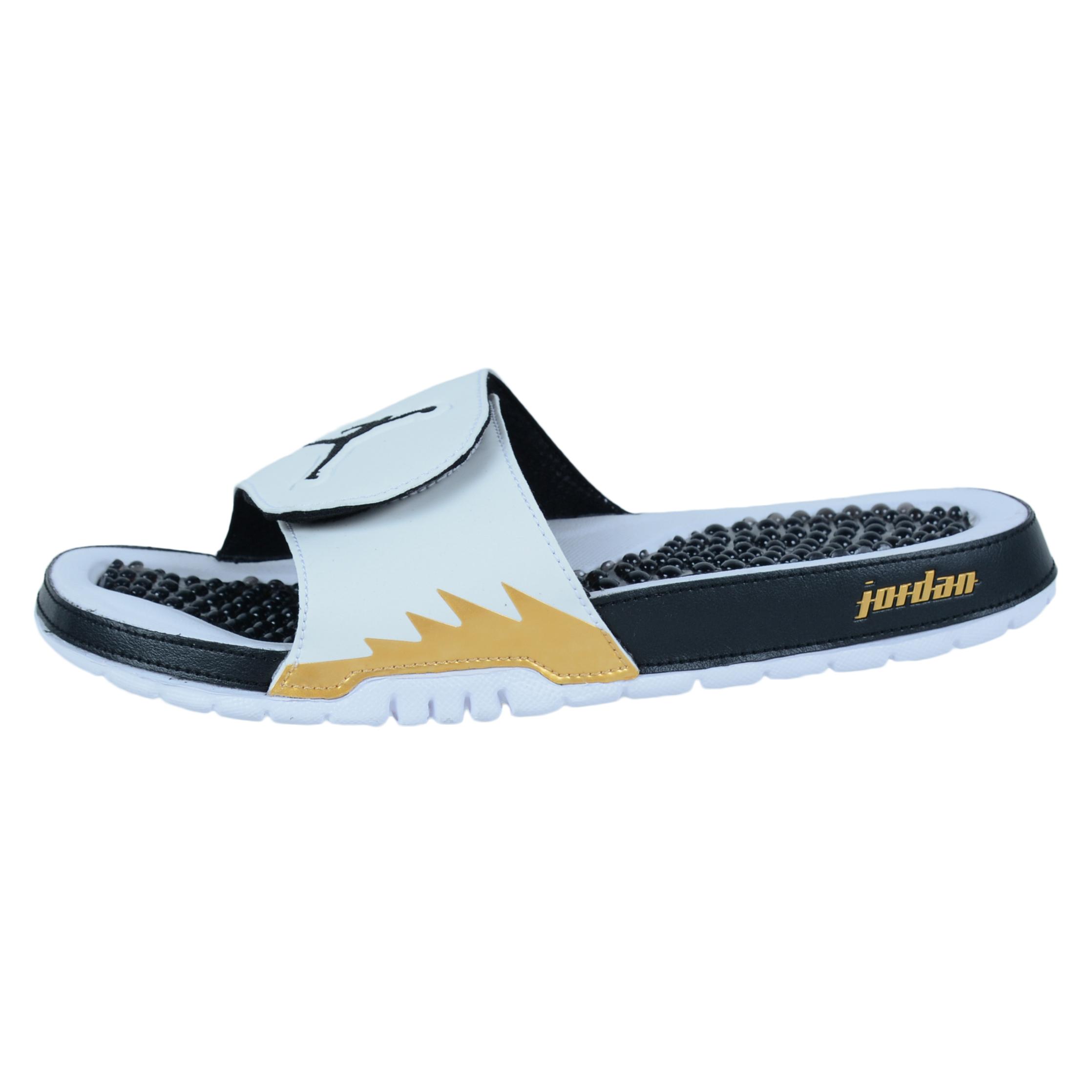 Black jordan sandals - Nike Jordan Hydro V Retro Slide Sandals White Black Metallic Gold 555501 153