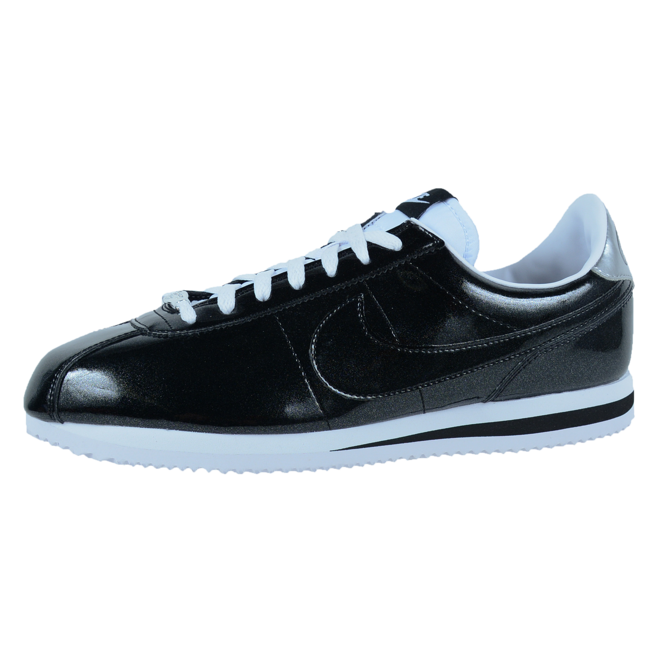 nike cortez qs red; NIKE CORTEZ BASIC PREMIUM QS CASUAL SHOES BLACK WHITE  METALLIC SILVER 819721 001