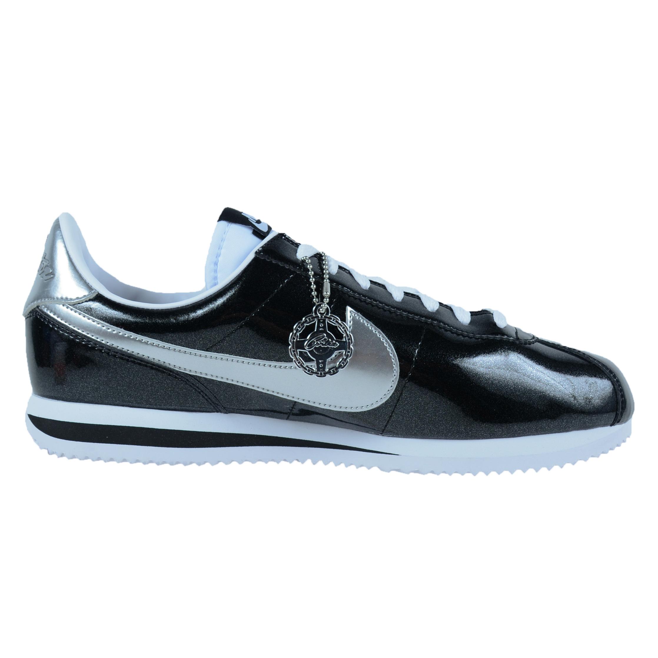 ... nike cortez basic premium qs casual shoes black white metallic silver  819721 001 ...