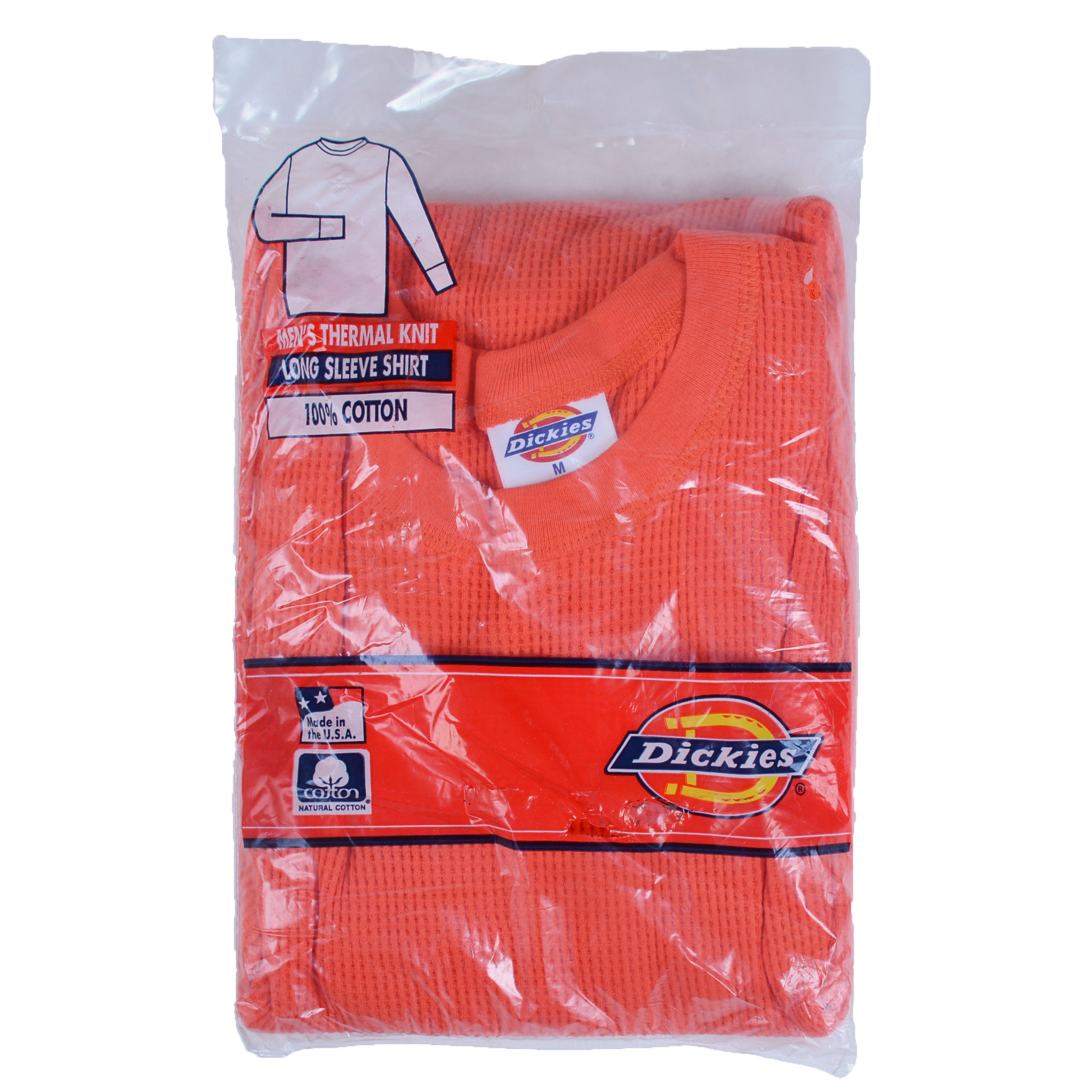 Dickies Men 39 S Thermal Knit Long Sleeve Shirt Orange 100