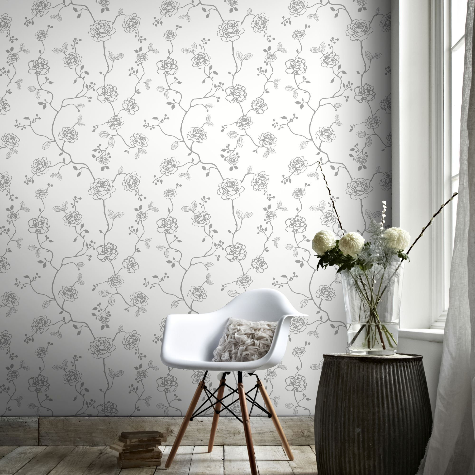 Superfresco Easy Paste The Wall Rose Silver Floral Wallpaper Ebay
