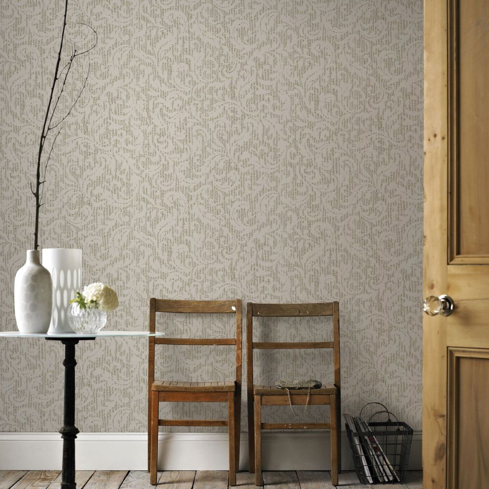 Boutique Cashmere Cream Gold Metallic Luxury Wallpaper