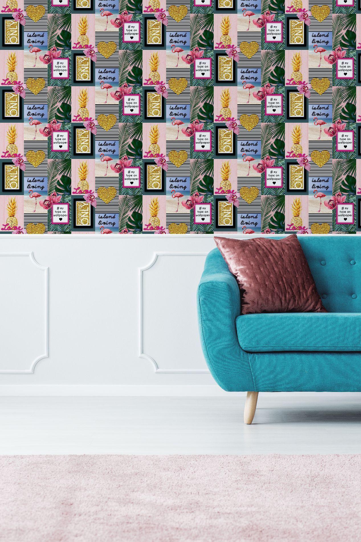 Fresco Neon Love Tropical Floral Wallpaper