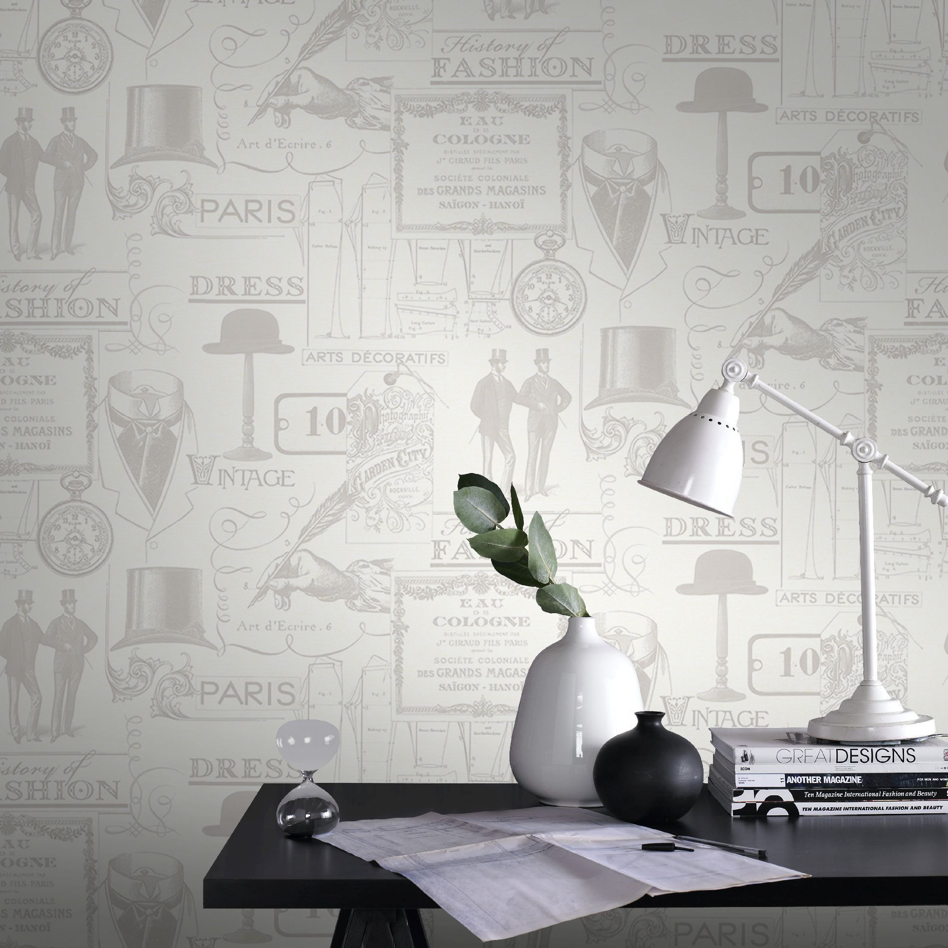 Details about Laurence Llewelyn-Bowen Top Hat n Tails Neutral Designer Wallpaper (Was £23)