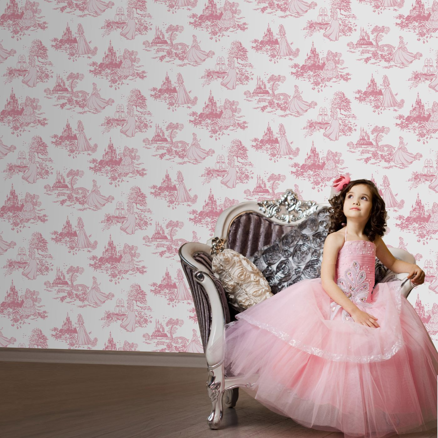 Disney Princess Girls Toile Print Pink Wallpaper Bedroom