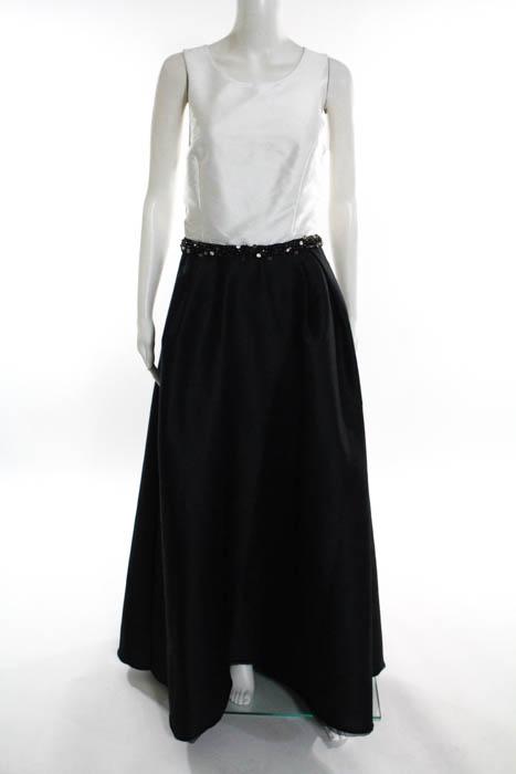 ML Monique Lhuillier Black White Jadore Contrast Gown Size 14 $598 ...
