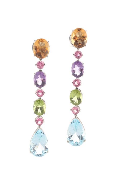 Designer Multi-Color 18K White Gold Peridot Citrine Amethyst Drop Earrings