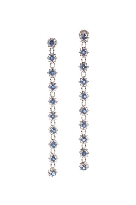 Designer Blue 14K White Gold Sapphire Drop Earrings