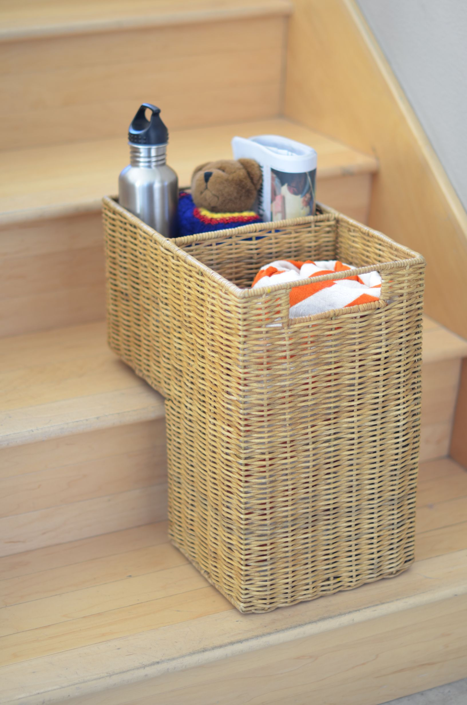 Wicker Handwoven Stair Step Basket 2 Compartments