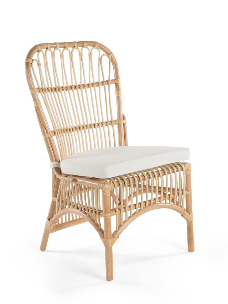 Rattan Loop Side Chair With Seat Cushion Set