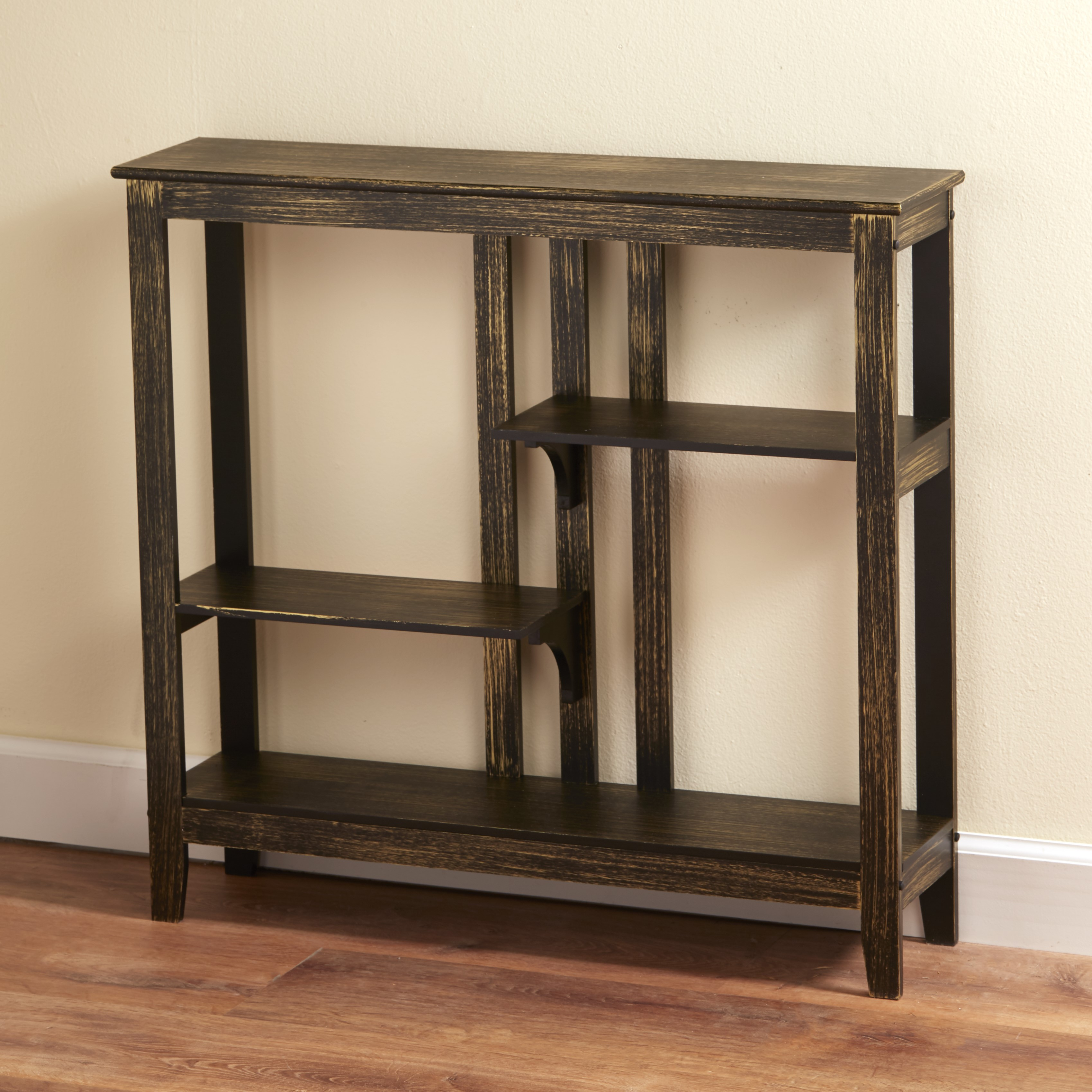 Distressed Finish Console Table Narrow Hallway With Display Shelves Ebay