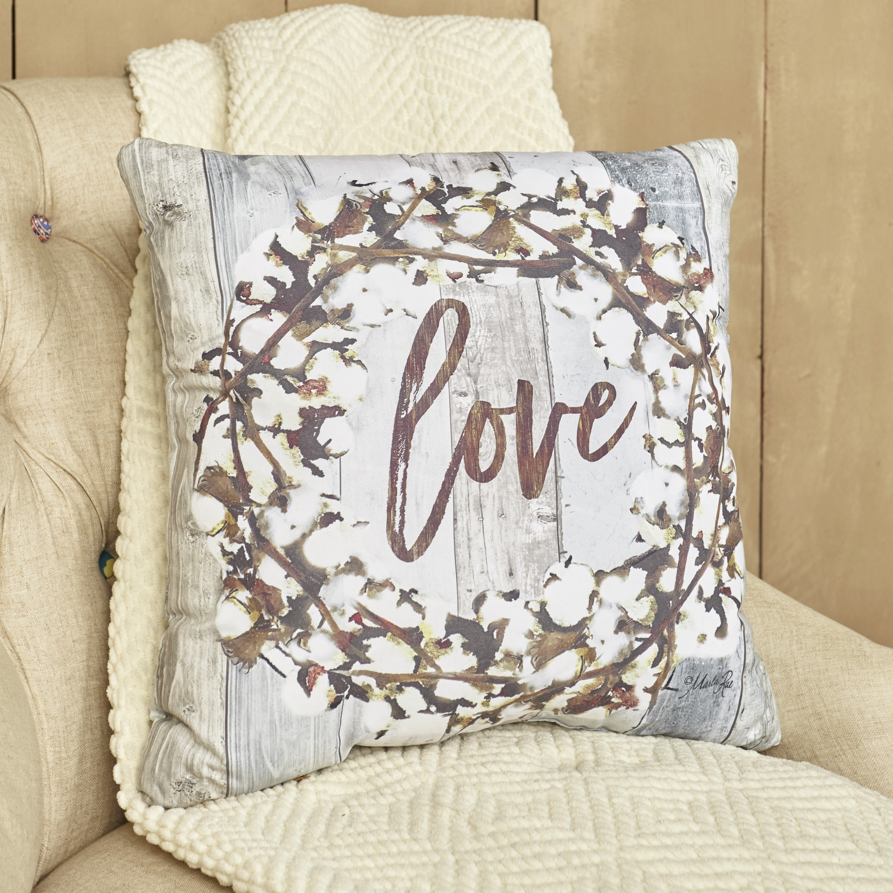 Cotton Boll Furniture Accent Pillow - Love - Farmhouse 17