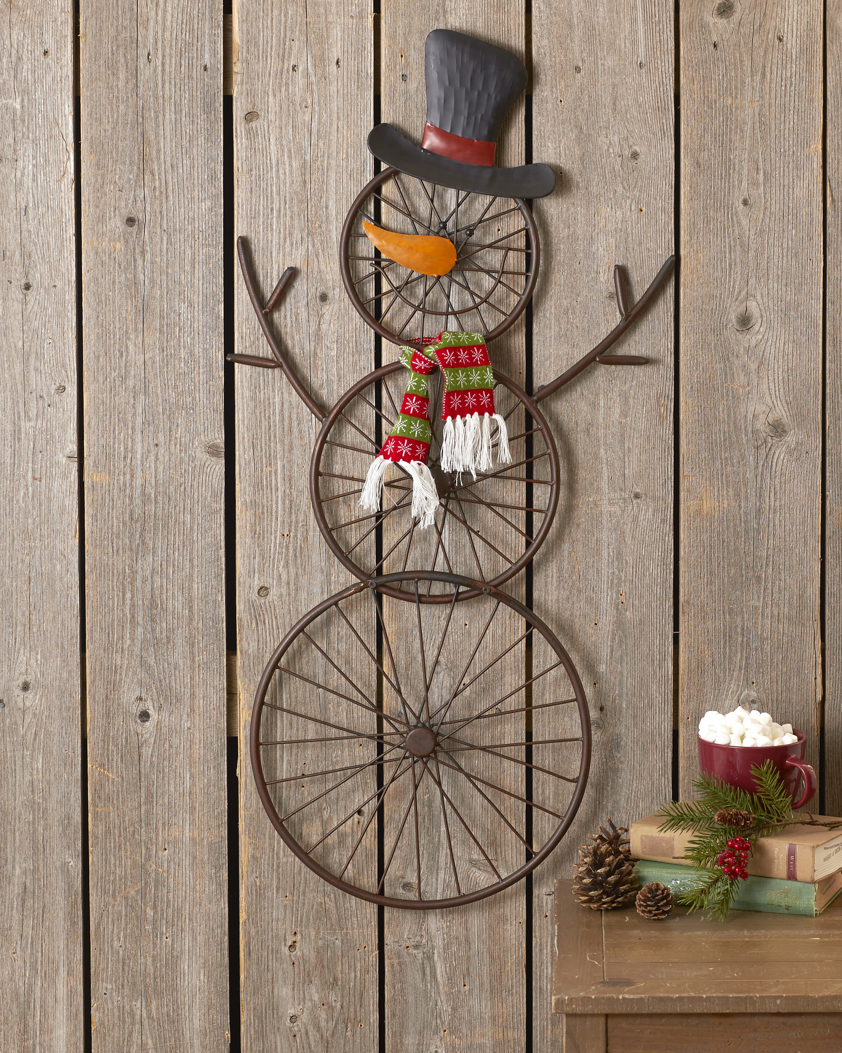 Snowman Holiday Wall Decoration With Hanging Bicycle Wheel Design 36 Ebay