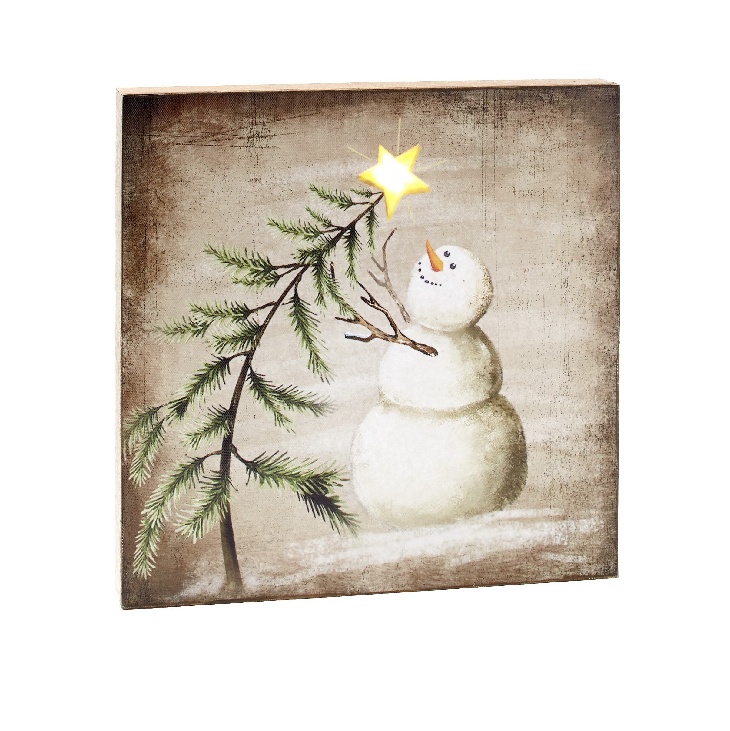 Lighted Winter Holiday Canvas Wall Art With Snowman Wishing On A Star Ebay