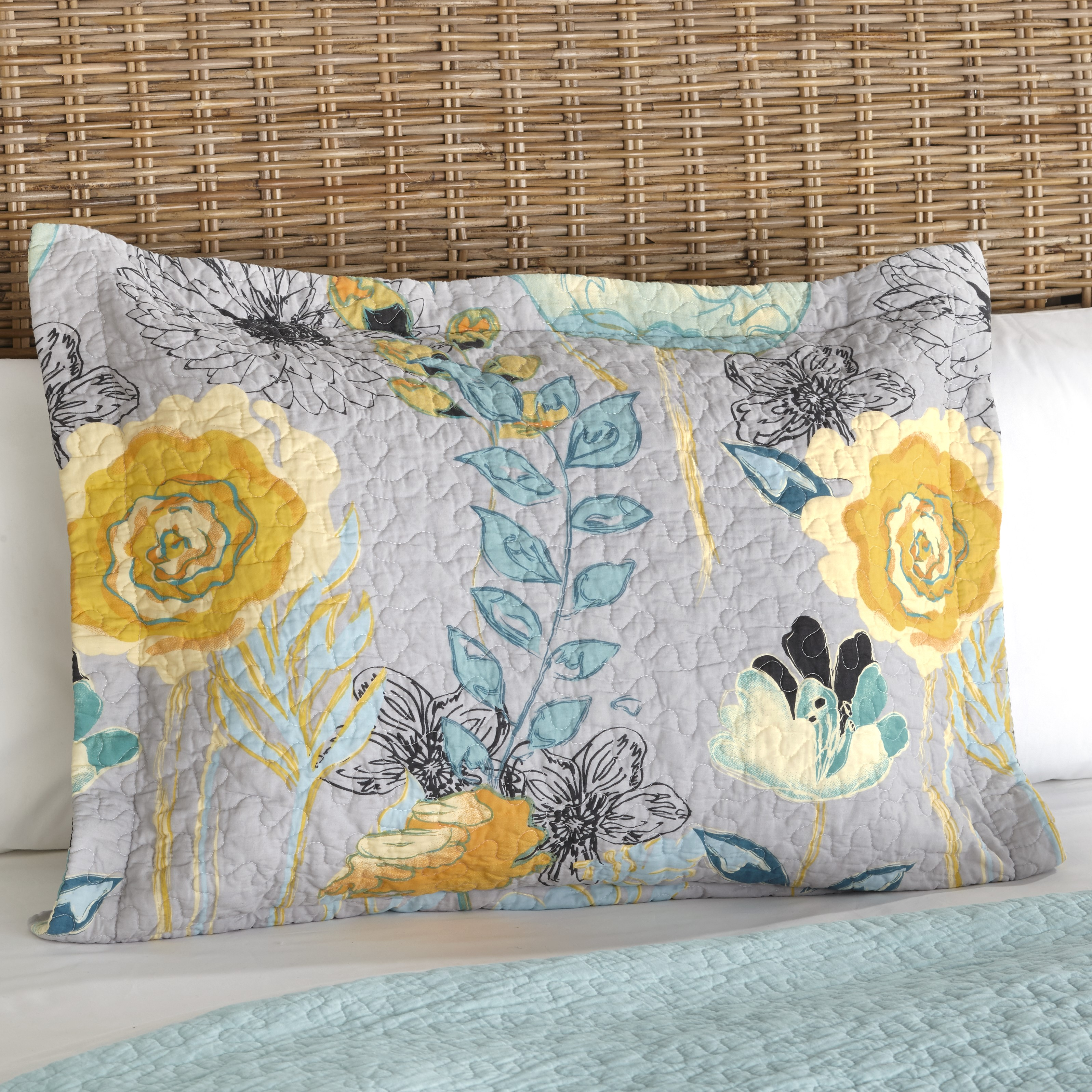 Floral Watercolor Gray Quilted Pillow Sham With Vermicelli Stitch Ebay