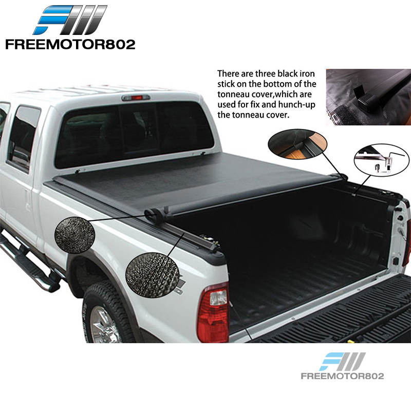 Automotive Truck Bed Accessories Fits 15 19 Ford F 150 8ft 96in Bed Black Lock Roll Up Tonneau Cover