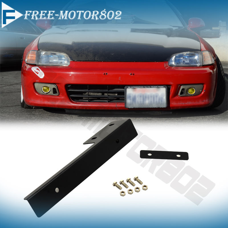Universal Front Bumper License Plate Mounting Bracket Side Mount Relocation Kit