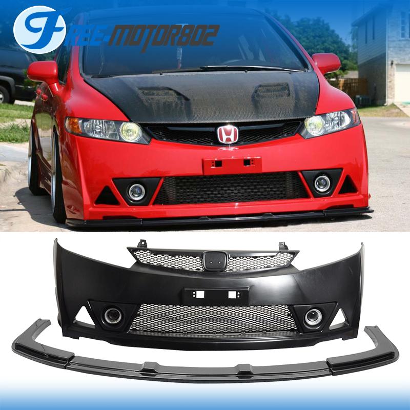 For 06 11 Honda Civic 4door Sedan Mugen Rr Pp Front Bumper