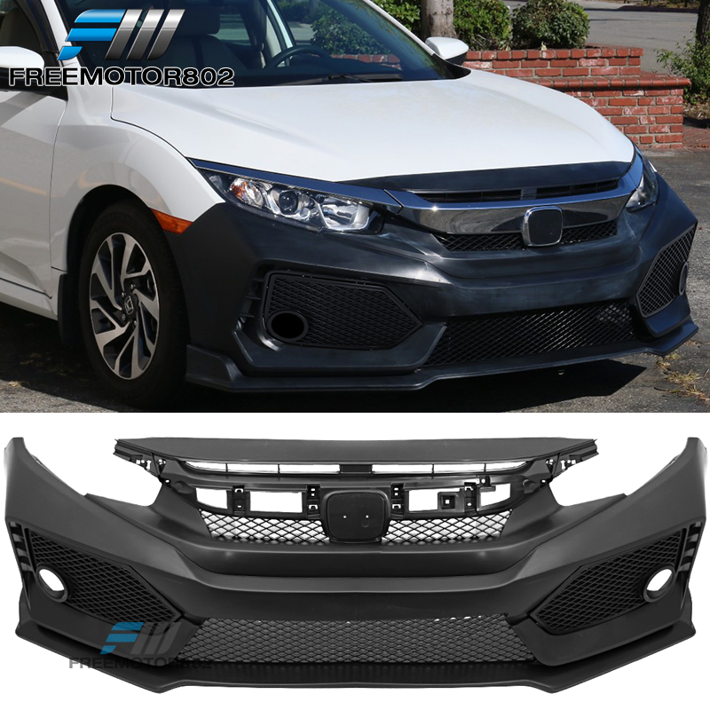 10th Gen Civic >> Details About Fits 16 20 Honda 10th Gen Civic Type R Ctr V2 Front Bumper Cover Kit Pp