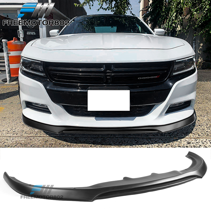 Front Bumper Lip Compatible With 2015-2018 Dodge Charger RT 2016 2017 2018 Front Lip Chin Spoiler Splitter IKON Style Unpainted Black PP IKON MOTORSPORTS