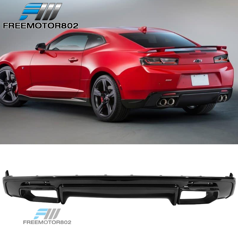 Fits 16-19 Chevy Camaro Rear Bumper Lip Diffuser Quad Exhaust Glossy Black