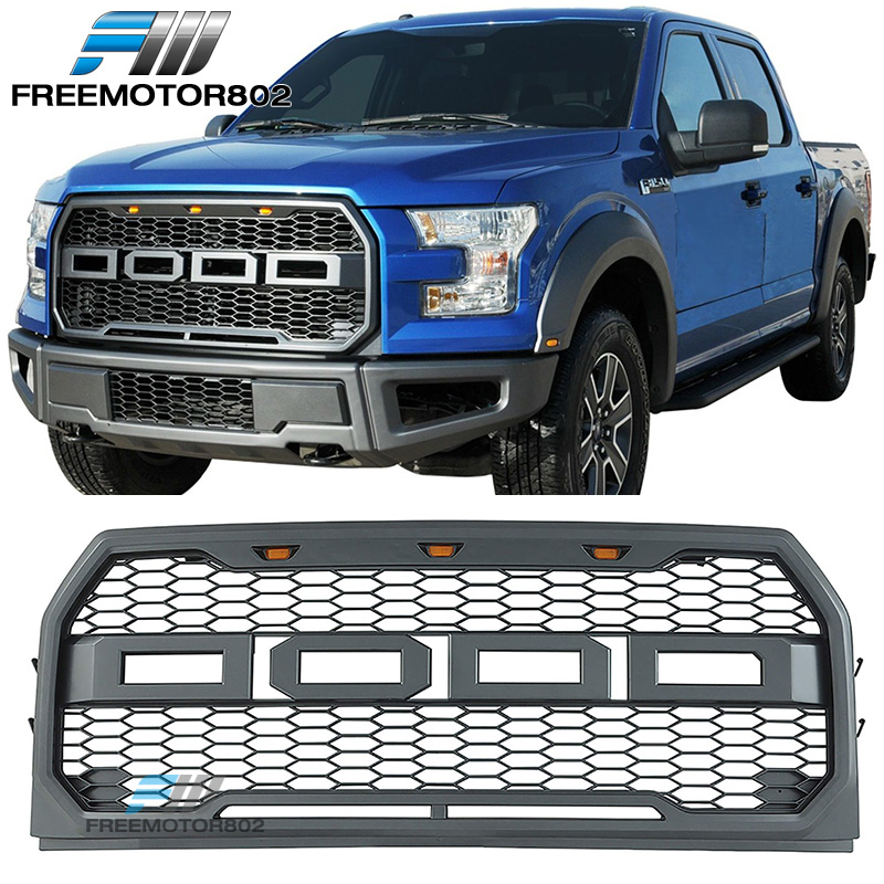 05 F150 Bumper >> Details About Fits 15 17 Ford F150 Pickup 4dr Front Bumper Hood Mesh Grille Abs Raptor Style