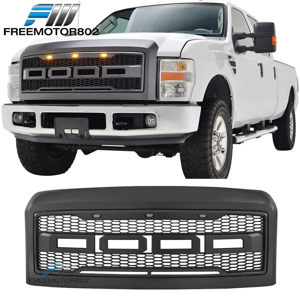 AA Products Raptor Mesh Style Grille Compatible Ford F150 2004 up to 2008 Front Grill Upper Grille ABS Replacement Gloss Black