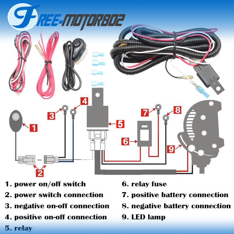 Universal Led Light Bar Fog Light Wiring Harness Kit 40a 12v Switch