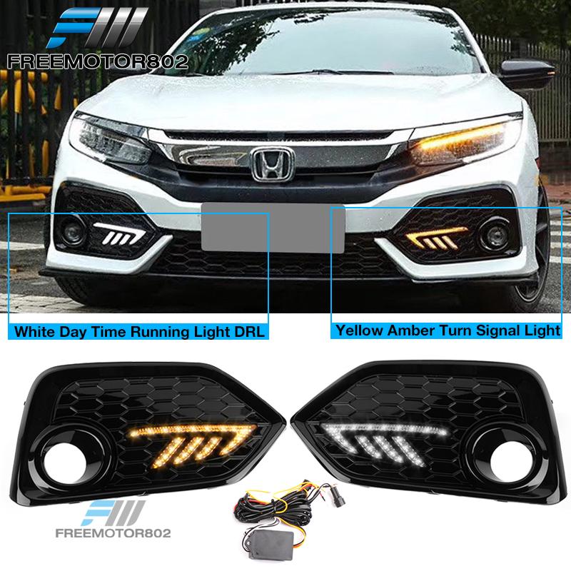 LED Daytime Running Lights DRL Yellow Turn Signals for Honda Civic Hatchback 17+