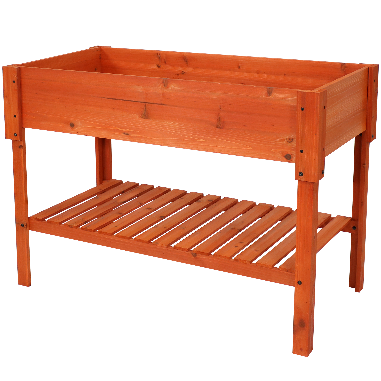 Sunnydaze Raised Wood Garden Bed Planter Box with Shelf - 42-Inch - Stained Finish