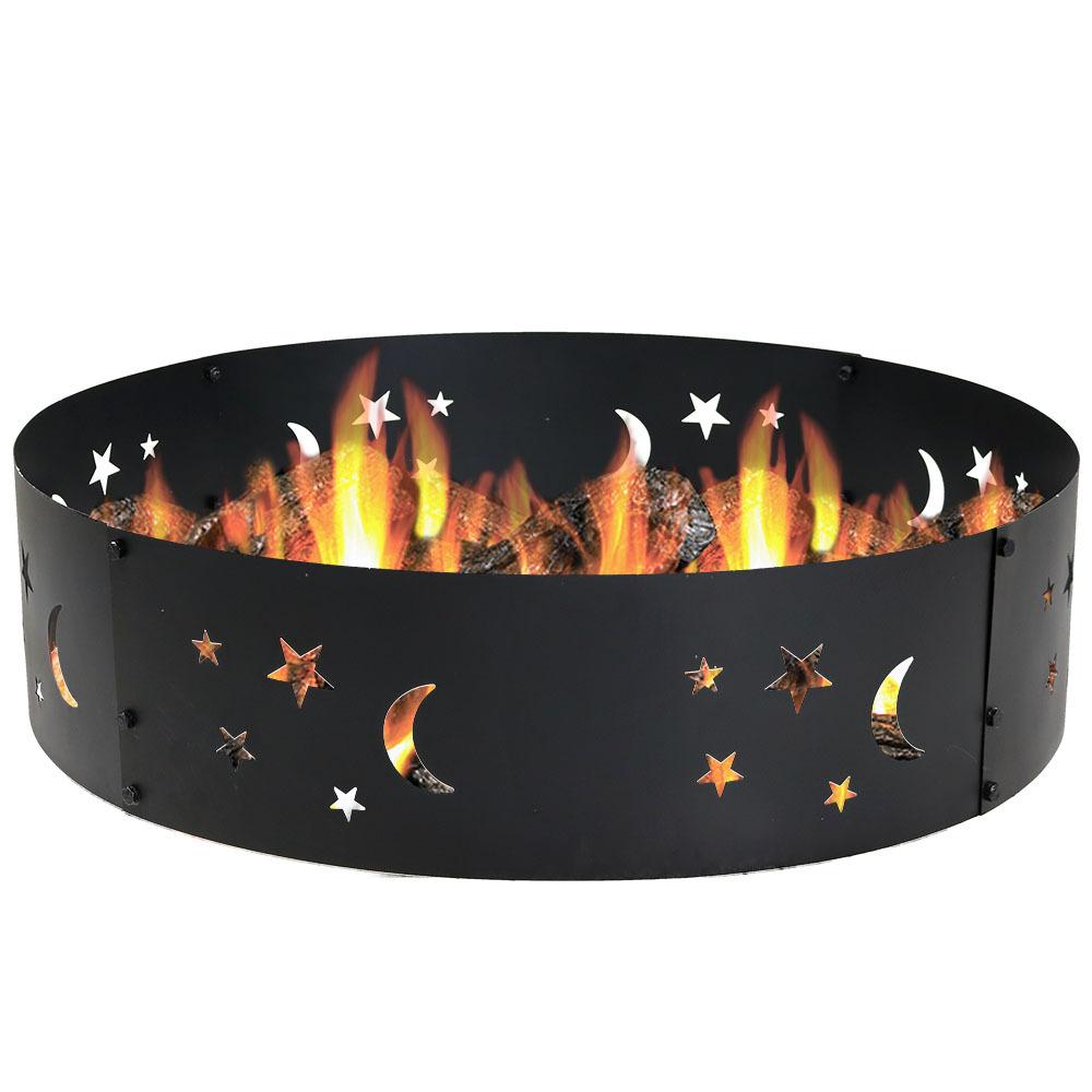 Sunnydaze Metal Campfire Ring w/ Die-Cut Stars & Moons - 36-Inch