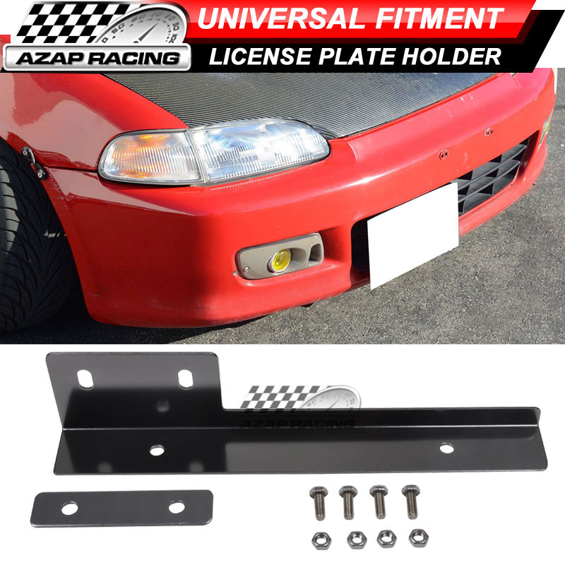 Gunmetal Side Mount Bumper License Plate Mounting Bracket Plate for Car Truck